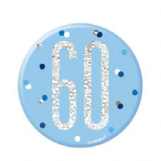 Blue Glitz '60' Birthday Badge